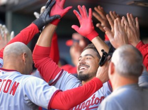 Anthony Rendon celebrates with teammates.