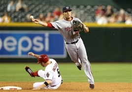 Ian Desmond turns a double play.