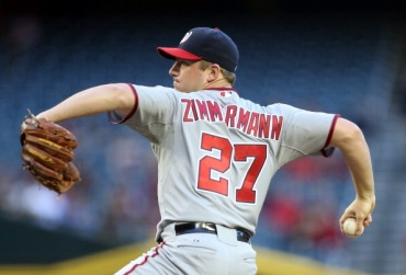 Jordan Zimmermann unfurls a pitch in the first inning.