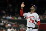 Rafael Soriano reacts after sealing the win and notching his eighth save of the season.