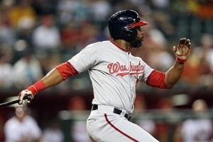 Denard Span smacks a ground-rule double.