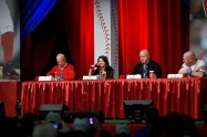 Mark Lerner, one of the Nationals' principal owners, CRO Valerie Camillo, President of Baseball Operations & GM Mike Rizzo, and Manager Matt Williams take part in the State of the Nationals panel with Season Plan Holders.