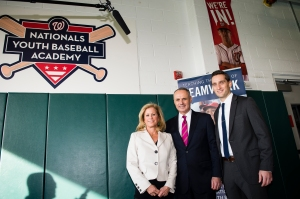 Commissioner of Major League Baseball Robert D. Manfred, Jr. visits the Washington Nationals Youth Baseball Academy