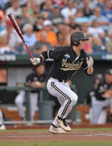 Omaha, NE - JUNE 24:  Rhett Wiseman #8 of the Vanderbilt Commodores singles against the Virginia Cavaliers in the first inning during game two of the College World Series Championship Series on June 24, 2014 at TD Ameritrade Park in Omaha, Nebraska.  (Photo by Peter Aiken/Getty Images)
