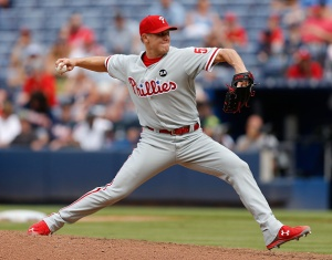 ATLANTA, GA - JULY 05:  Closer Jonathan Papelbon #58 of the Philadelphia Phillies throws a pitch in the tenth inning during the game against the  Atlanta Braves at Turner Field on July 5, 2015 in Atlanta, Georgia.  (Photo by Mike Zarrilli/Getty Images)