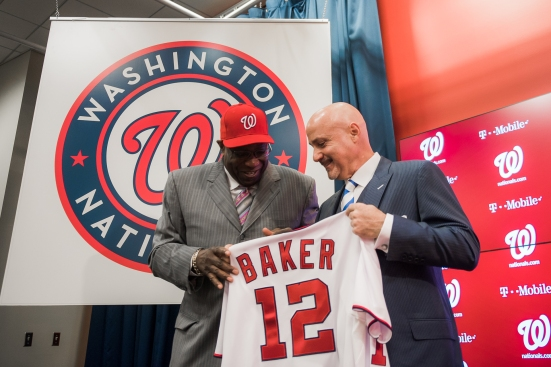 The Washington Nationals introduce Dusty Baker during a press conference at Nationals Park on November 5, 2015 in Washington, DC. (Photo by Paul Kim for the Washington Nationals Baseball Club)